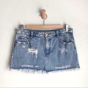 FREE PEOPLE Distressed & Frayed Denim Mini Skirt